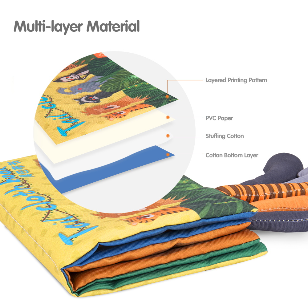 Tumama Baby Cloth Book 3D Waterproof Animal Tail Cloth Books Infant Newborn Soft Fabric Cloth Book Learning Educational For Kids