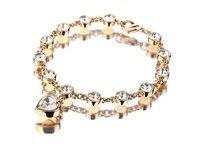 modyle 2017, новая мода браслеты и браслеты оптовая золото цвет кристалл горный хрусталь сердце браслеты