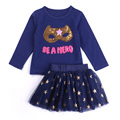 Hello Bobo Autumn And Spring Long Sleeve Dress Set Mask Printing Top+Shinning Stars Mini Skirt 2 Pcs Suit Girls Lovely Style