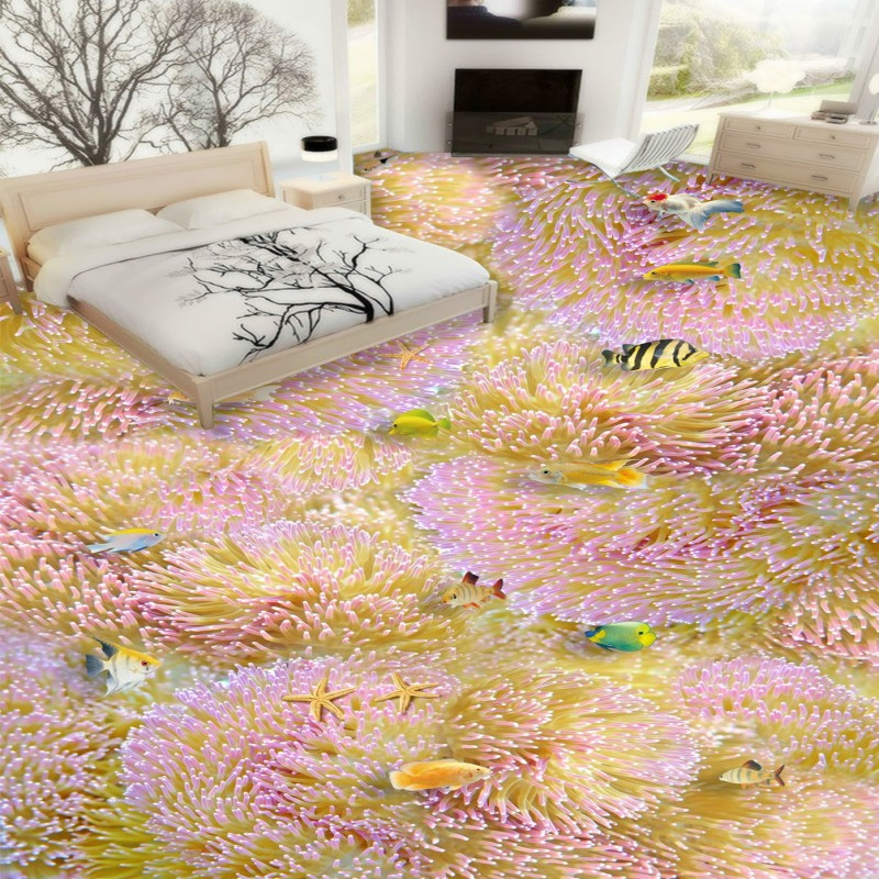 Free shipping Multi Colored coral floor waterproof home decoration children room bathroom floor mural self-adhesive wallpaper цена и фото