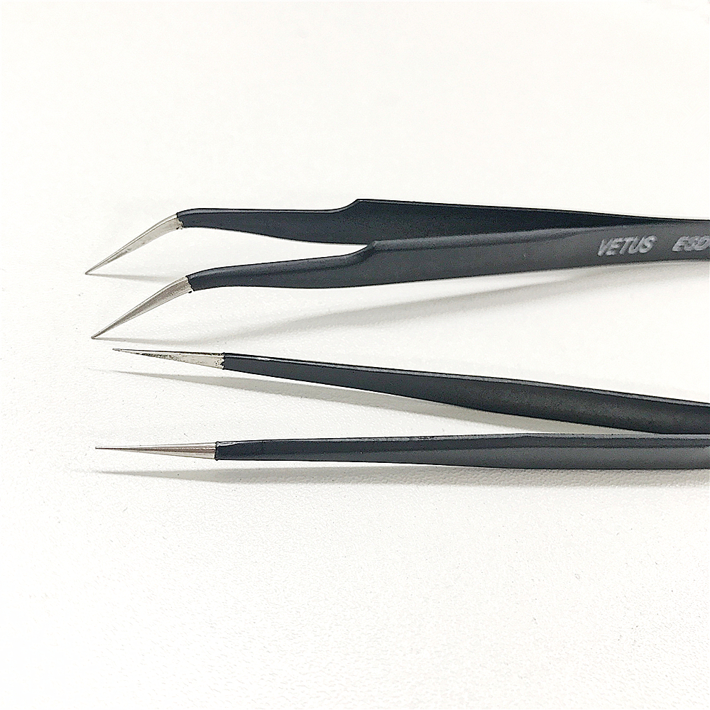 High Quality 1set(2pcs) Stright and curved Eyelash Vetus Tweezers Stainless Steel for Eyelash Extension Tools Free Shipping