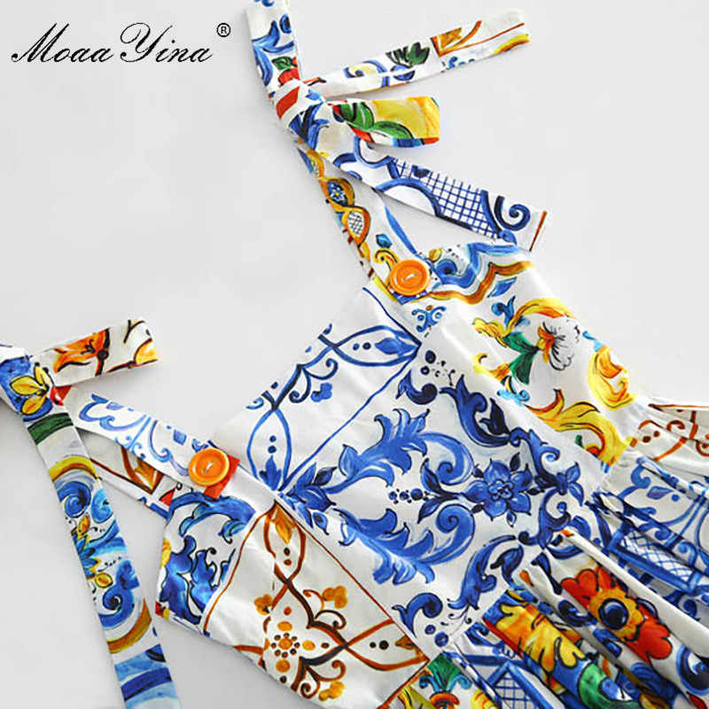 MoaaYina/высококачественное летнее Хлопковое платье для женщин, цветной горшок с принтом, сексуальное платье с открытой спиной и бретельками для подиума, богемное платье