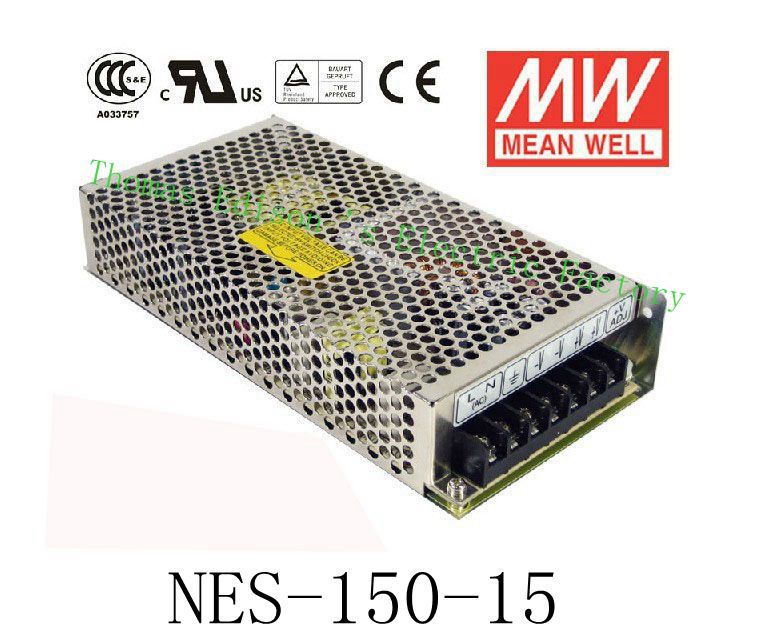 Original MEAN WELL power suply unit ac to dc power supply NES-150-15 150W 15V 10A MEANWELL meanwell 24v 50w ul certificated nes series switching power supply 85 264v ac to 24v dc