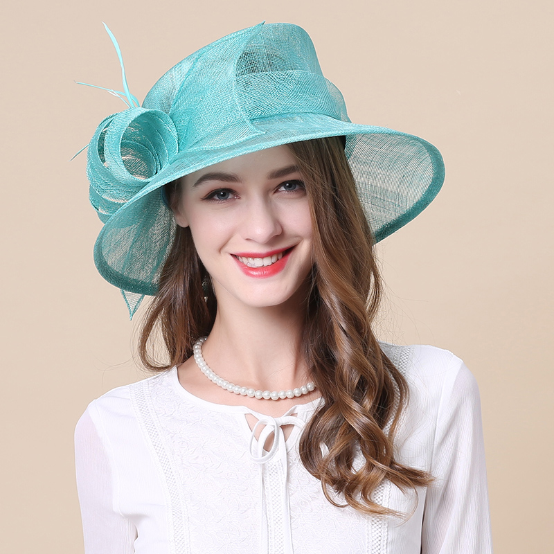 Women s Fedoras Hats Girls Line Church Cap Female British Party Hat Royal Wedding Linen Caps