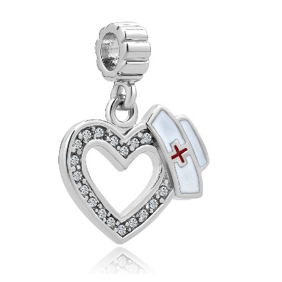 Fit Pandora charm bracelets White Birthstones Plate Heart Love With Medical Logo Dangle Charms For Brac Beads for jewelry making