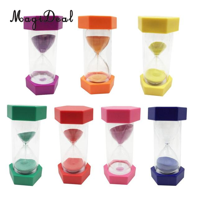 US $8 13 18% OFF|MagiDeal Clear Sand Hour Glass Sand 1/2/3/5/15 Minutes  Timer Hourglass Multi Use foe Kitchen Cooking Brush Teeth Kids Toy-in
