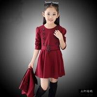 Iki parçalı Şal ve Elbise Takım Elbise 2015 Yeni Sonbahar Stil Kız Prenses Elbise Büyük Bakire Takım Elbise Toptan