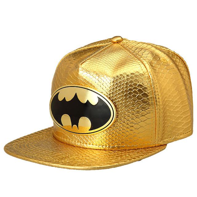 2016 Novos Estilos de Batman Bonés Homens Unisex Do Punk Hip Hop Baseball Cap Snapback Chapéus de pele de Cobra Ossos Aba Reta Criativo Boné Cheio de Ouro