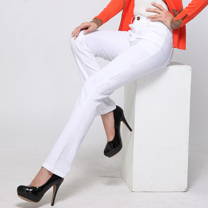 Yichaoyiliang 2017 New Office Ladies White Black Straight Suit Pants Korean Style High Waist Slim Chinos