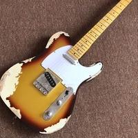 handmade TELE 6 Strings Maple fingerboard Electric Guitar,Sunburst color top elecaster gitaar relics by hands guitarra