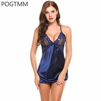 POGTMM Summer Sexy Sleepwear Women Backless Satin Chemise Slip Nightwear Lace Nightgown Female Home Gown Mini