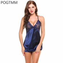 Summer Sexy Sleepwear Women Backless Satin Chemise Slip Nightwear Lace Nightgown Female Home Night Gown Mini Baby Doll Dress XXL