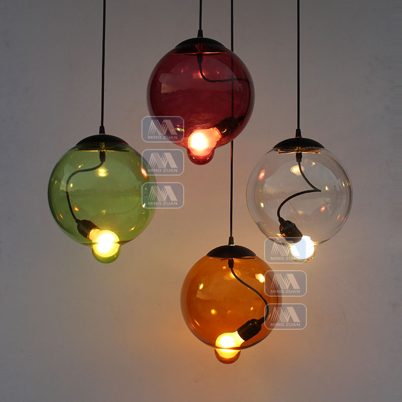 Фотография American country glass pendant lamps restaurant dining room personality creative creative color glass pendant lights ZH GY208