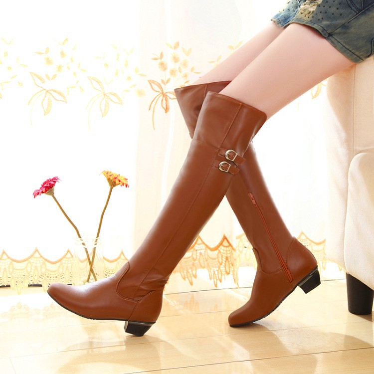 Women Boots Sexy Overknee High Heels Faux Suede Chunky Thigh High Boots Stretch Over the Knee Boots Woman Shoes Plus Size mcckle woman winter thigh high boots exquisite embroidery flower faux suede high heels over the knee shoes plus size 34 43