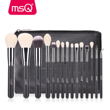 MSQ Makeup Brushes Set 15pcs Pro Foundation Powder Make Up Brushes Cosmetic Tool High Quality Goat Hair With PU Leather Case