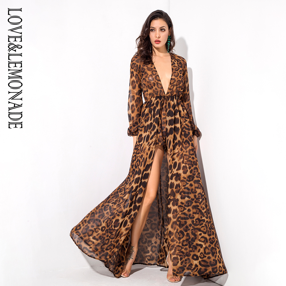 Love&Lemonade   Brown Leopard Pattern Deep V-Neck Chiffon Long-Sleeved Playsuit  LM1271