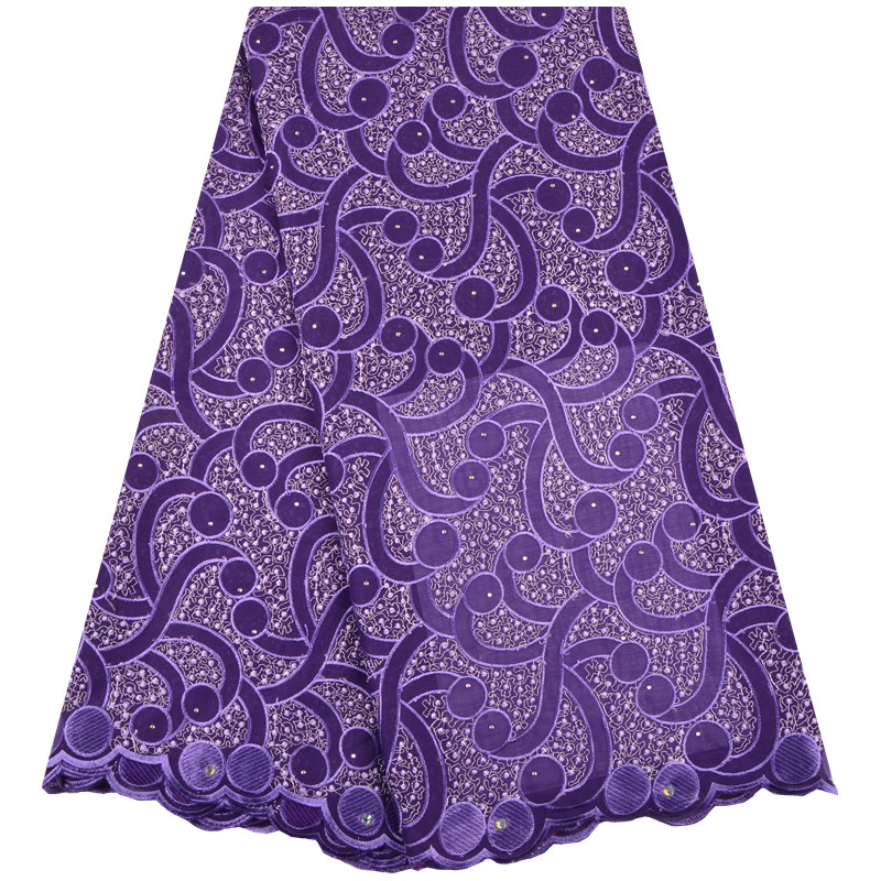 Latest Nigerian Lace African Swiss Cotton Lace Purple Color High Quality Swiss Voile Lace In Switzerland