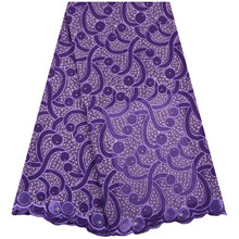 Latest Nigerian Lace African Swiss Cotton Lace Purple Color High Quality Swiss Voile Lace In Switzerland For Wedding Dress