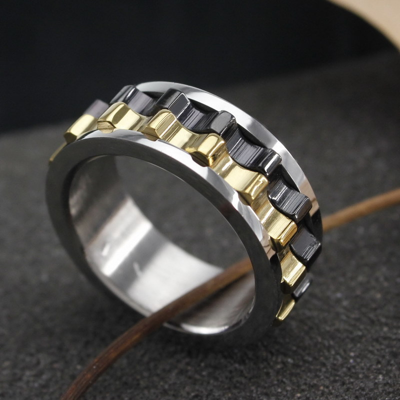 316L Black Stainless Steel Metal Gear Design Rotating Spinner Ring For Men And Women Sz 65 8 9 10 Wholesale In Rings From Jewelry Accessories On