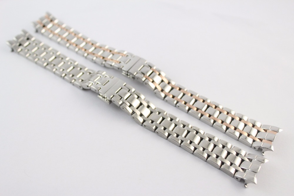 16mm T050207A T050217 New Watch Parts Solid Stainless steel bracelet Rose gold plating strap Watch Bands For T050