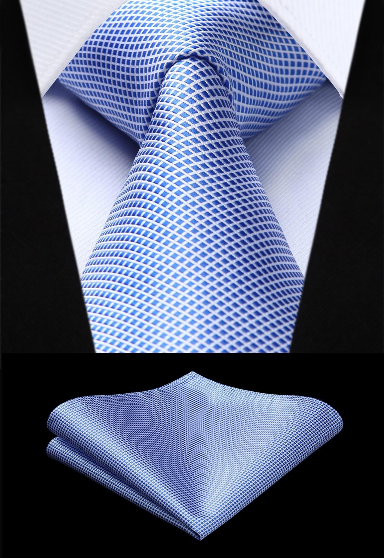 Woven Men Tie Fashion Blue Check Plaid Necktie Handkerchief Set#TC616B8S Party Wedding Classic Pocket Square Tie