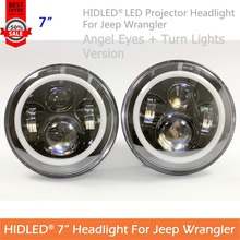 2016 Promotion For Jeep Wrangler 7 Inches Round LED Projector Headlight Angel Eyes And Turn Lights For Old Beetle Styling Tuning