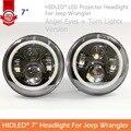2016 promoção para Jeep Wrangler 7 polegadas rodada LED Projector farol Angel Eyes e acende as luzes para velho besouro Styling sintonia