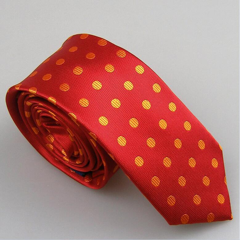 Lammulin Для Мужчин's Галстуки для костюма в точка жаккарда тканый шейный платок из микрофибры узкий галстук 6 см свадебные туфли, 10 цветов на выбор, брендовый мужской - Цвет: Red w Orange