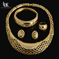 Fashion Dubai Gold Plated Bridal Jewelry Sets Big Earrings And Necklace African Costume Jewelry Set Parure Bijou Plaque Or