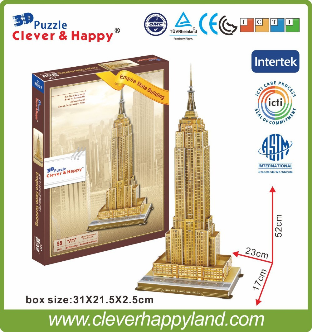 Hot sale hight quality 3d puzzle diy toys for adults wholesale Empire State Building
