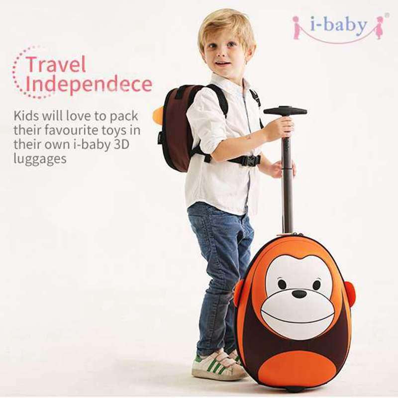 i-baby 3D haiwan reka bentuk kanak-kanak rolling bagasi kanak-kanak kes perjalanan kartun pergudangan membawa di suitcase, monyet, 2 warna