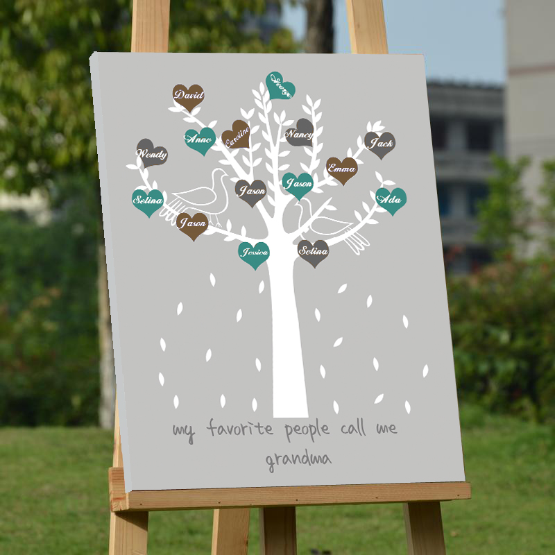 Customized Wedding Decoration Canvas Guest Book Chic Family Tree ...