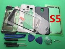 S5 חדש מלא שיכון מקרה התיכון מסגרת + גומי חותם בחזרה מקרה + זכוכית עדשת חלקי רכב עבור Samsung Galaxy s5 G900 i9600 + כלים