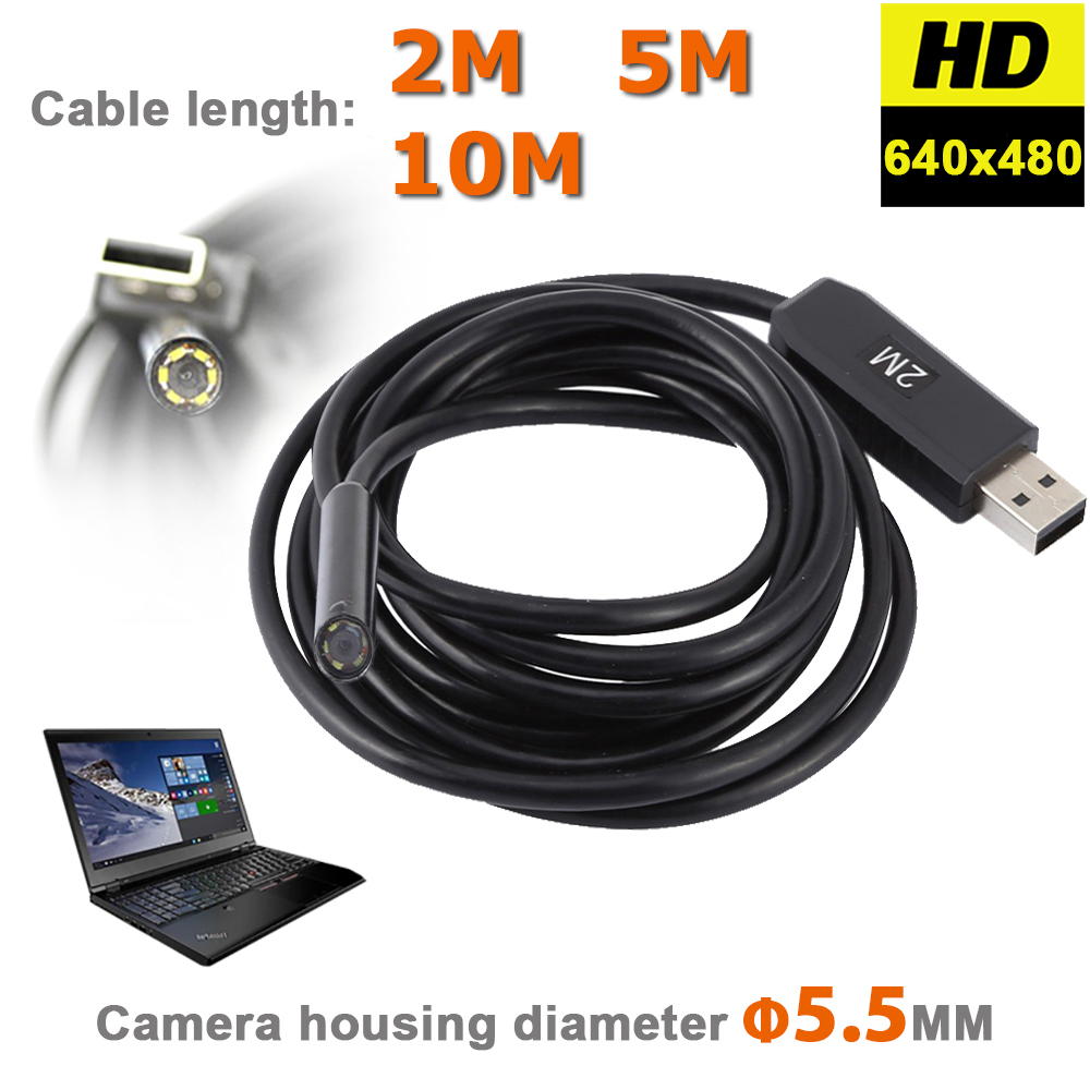HD 720P 6LEDs 5.5MM USB Endoscope Borescope Snake Inspection Pipe Tube Video Mini Camera IP67 Waterproof With 2M Flexible Cable 7m 7mm lens waterproof mini usb endoscope inspection pipe camera borescope tube snake scope with 6 leds night vision for android