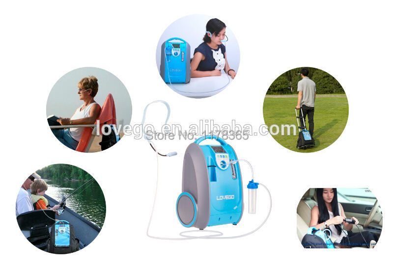two batteries Lovego portable oxygen concentrator with one fingertip pulse oximeter
