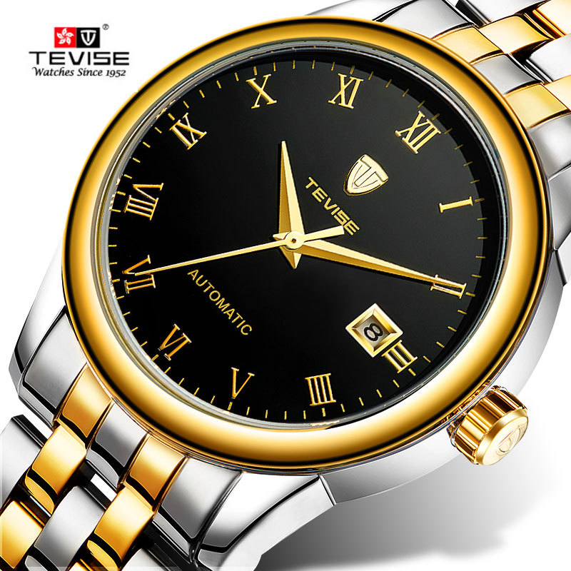 Tevise Fashion Men's  Hardlex Day Automatic Mechanical Watches Montre Homme Gift Box Free Ship tevise fashion orologio uomo men s mult functional day week auto mechanical pu leather strap watches xmas gift box free ship
