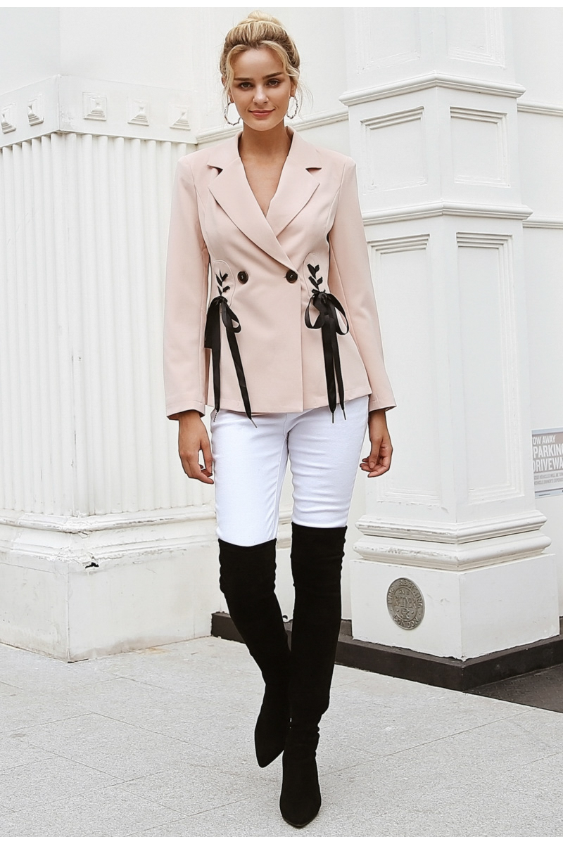 Simplee Autumn OL double breasted suit coat Elegant side tie up cool winter outwear V neck short coat office lady 2018 8
