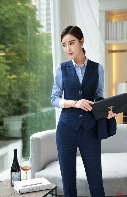 dac2e97cf6 US $45.05 47% OFF|2019 Formal Elegant Women's 2 Piece Pant Suits and Vest  Sets Office Uniform Style womens tops and blouses business suits ladies-in  ...