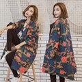 Nueva Moda Mujeres Trench Coat Otoño Estilo Harajuku Camuflaje Loose Escudo de Impresión Floral Largo Casaso Feminino Abrigo Tallas grandes