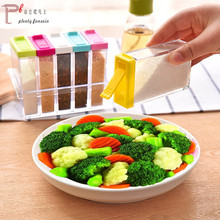 6Pcs/Set colorful Spice Jar Seasoning Box Kitchen Storage Bottle Jars Transparent PP Salt Pepper Cumin Powder Tool shaker
