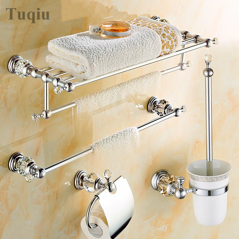 Online Shop Modern Clear Crystal Bathroom Accessories Sets Silver Polished  Chrome Bathroom Products Solid Brass Bathroom Hardware Sets | Aliexpress  Mobile