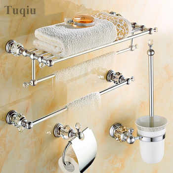 Modern Clear Crystal Bathroom Accessories Sets Silver Polished Chrome Bathroom Products Solid Brass Bathroom Hardware Sets - DISCOUNT ITEM  29% OFF All Category
