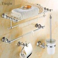 Modern Clear Crystal Bathroom Accessories Sets Silver Polished Chrome Bathroom Products Solid Brass Bathroom Hardware Sets