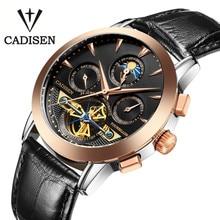Cadisen Hombres de Negocios Diseño Dial Ganador Esqueleto Mecánico Relojes de Oro Reloj de Cuero Genuino Relojes Militar Hombres Reloj