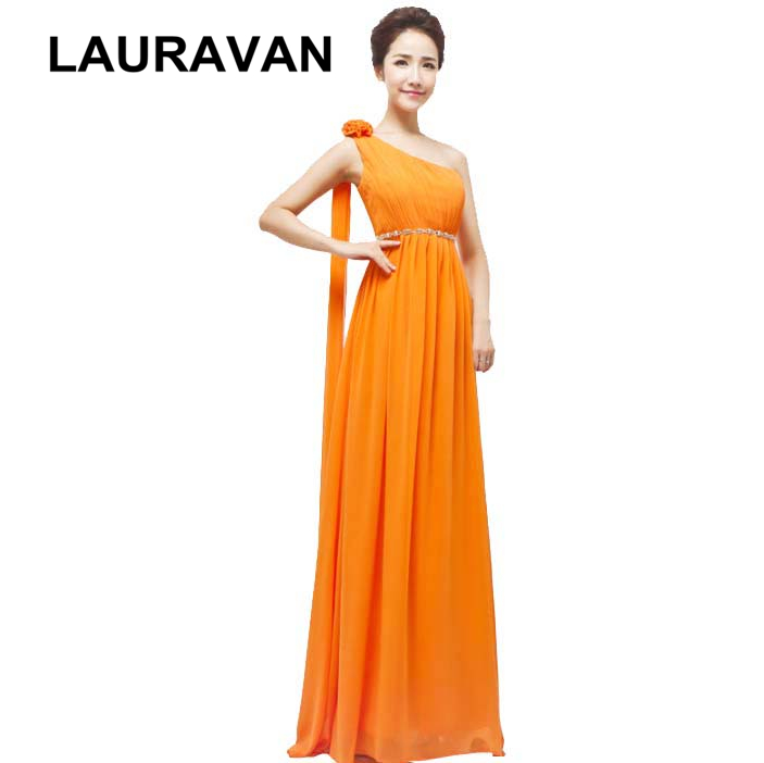 Real Photo One Shoulder Orange Blue Yellow Women Ladies A Line Bridesmaid Dress A Line Chiffon Long Dresses Summer 2019 Gown