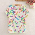 Estilo do verão Mulheres Blusas Do Vintage Pena de pássaro e Flor Impressão Chiffon Camisa Blusa Feminina Plus Size blusa Camisa Ropa Mujer