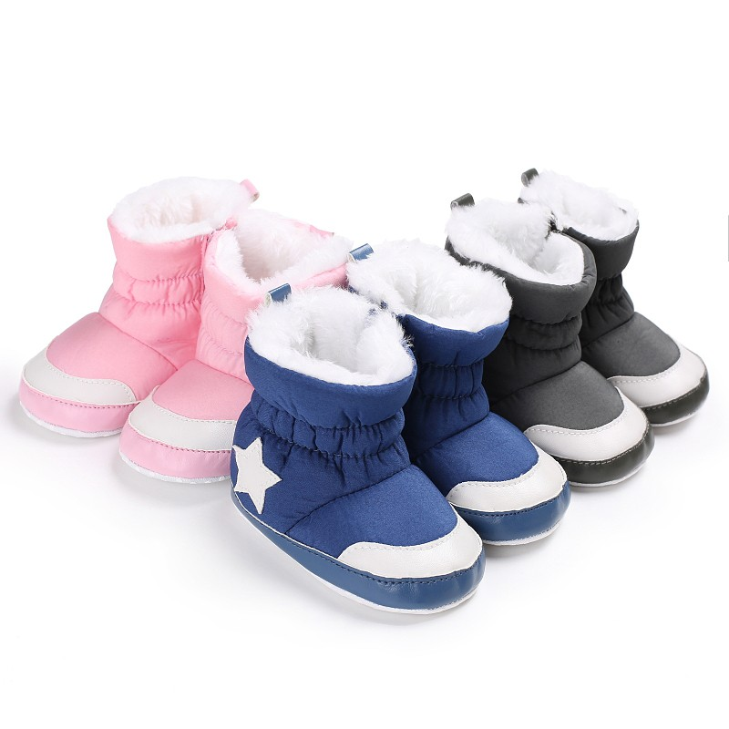 Winter Warm Newborn Baby Shoes Comfortable Crib Bebe Infant Toddler First Walkers Five Star Pattern Snowfield Snow Boots Booty