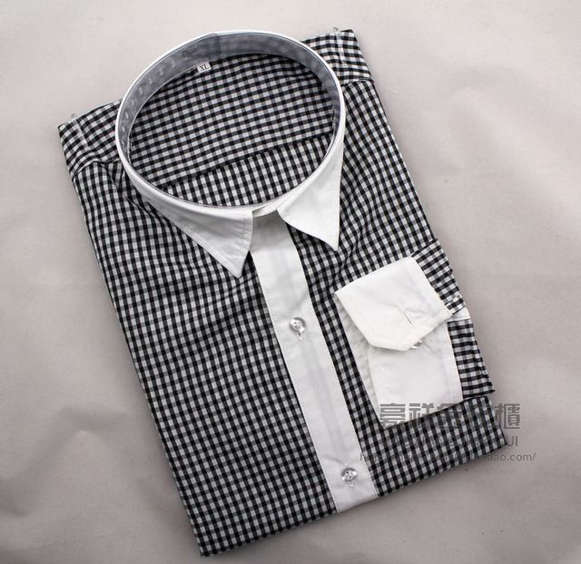 Caliente venta! las ventas del precio bajo! 2015 cultivan de la moralidad de hombre vestido largo de la manga de la camisa a cuadros mostrar camisa M-XL