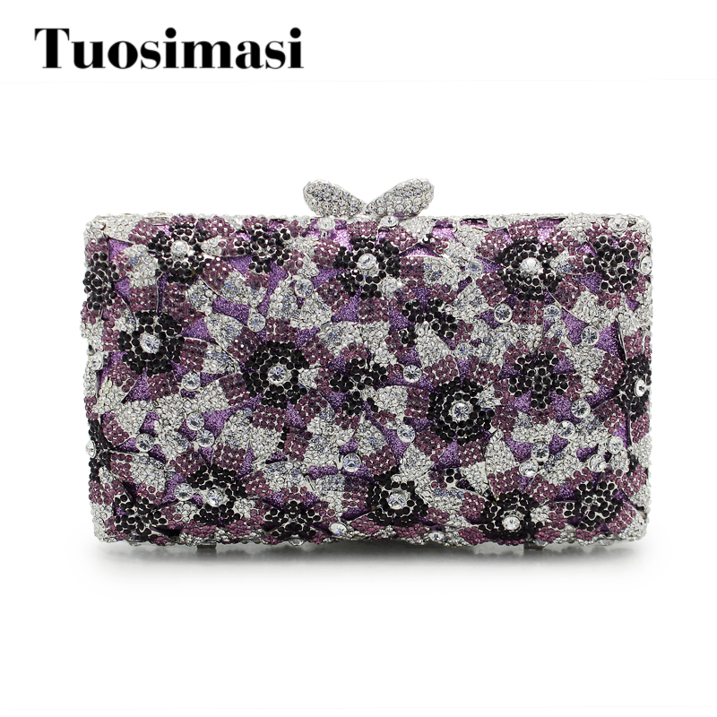 Women Clutch Bag Purple Flower Ladies Evening Bags With Chain Party Purse And Handbags Big Stone Designer Clutches fashion box evening bag oil painting flower black lock clutch bag strap mini tote bag ladies purse trunk white women handbags