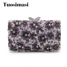 Women Clutch Bag Purple Flower Ladies Evening Bags With Chain Party Purse  And Handbags Big Stone Designer Clutches 1f356d1c24ba